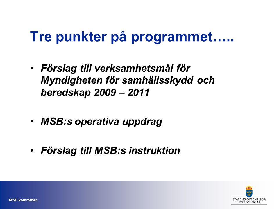 MSB-kommittén Tre punkter på programmet….. Förslag till verksamhetsmål för Myndigheten för samhällsskydd och beredskap 2009 – 2011 MSB:s operativa upp