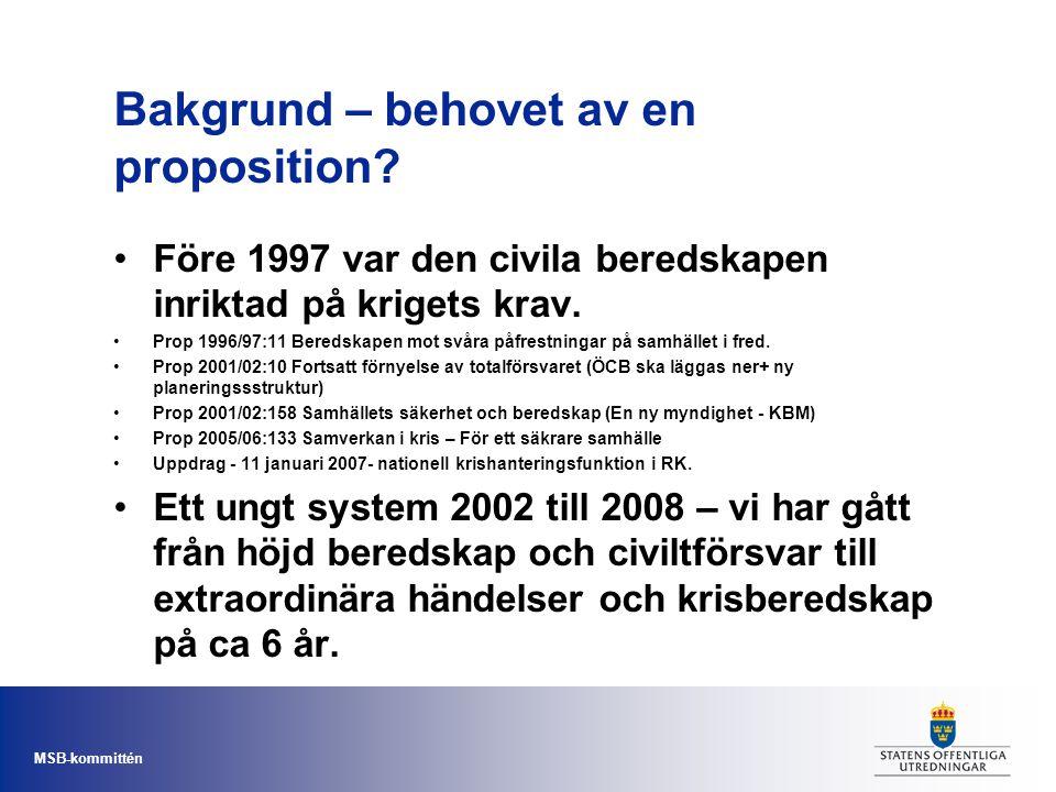 MSB-kommittén Bakgrund – behovet av en proposition? Före 1997 var den civila beredskapen inriktad på krigets krav. Prop 1996/97:11 Beredskapen mot svå