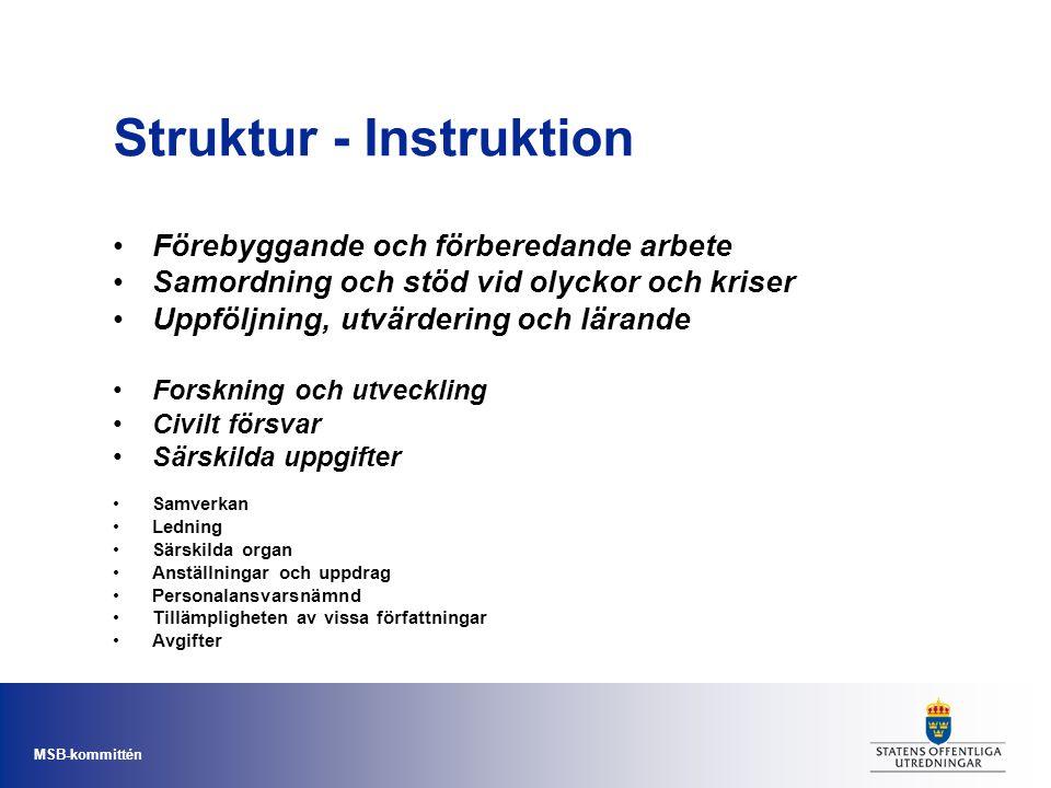 MSB-kommittén Struktur - Instruktion Förebyggande och förberedande arbete Samordning och stöd vid olyckor och kriser Uppföljning, utvärdering och lära