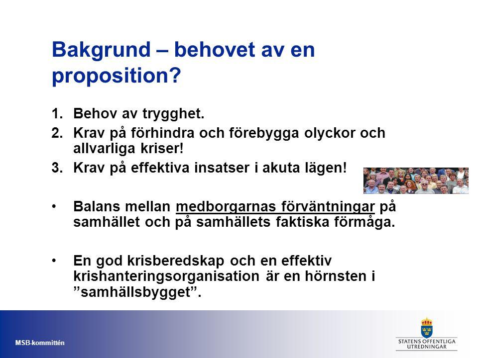 MSB-kommittén Bakgrund – behovet av en proposition? 1.Behov av trygghet. 2.Krav på förhindra och förebygga olyckor och allvarliga kriser! 3.Krav på ef