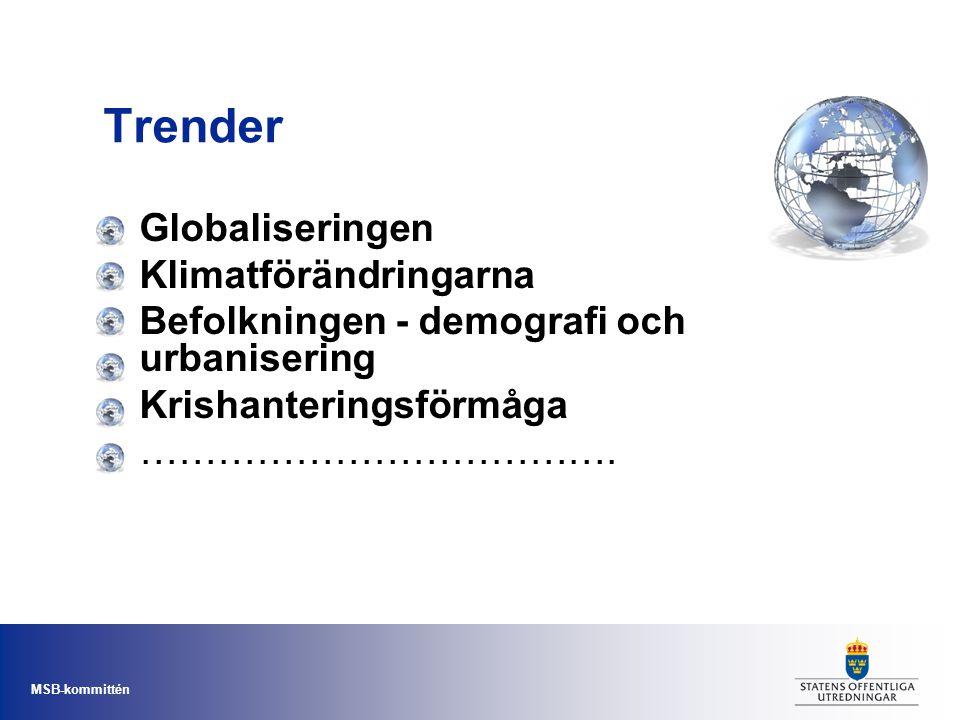 MSB-kommittén Trender Globaliseringen Klimatförändringarna Befolkningen - demografi och urbanisering Krishanteringsförmåga ……………………………….
