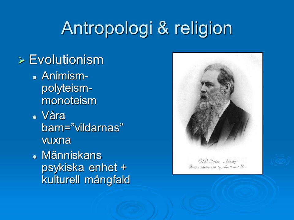 "Antropologi & religion  Evolutionism Animism- polyteism- monoteism Animism- polyteism- monoteism Våra barn=""vildarnas"" vuxna Våra barn=""vildarnas"" vu"
