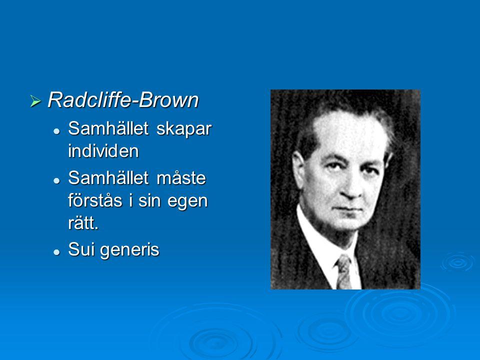  Radcliffe-Brown Samhället skapar individen Samhället skapar individen Samhället måste förstås i sin egen rätt. Samhället måste förstås i sin egen rä