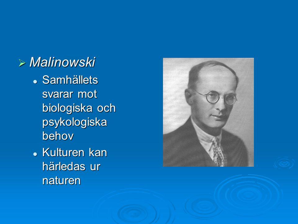  Malinowski Samhällets svarar mot biologiska och psykologiska behov Samhällets svarar mot biologiska och psykologiska behov Kulturen kan härledas ur