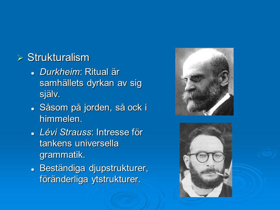  Strukturalism Durkheim: Ritual är samhällets dyrkan av sig själv. Durkheim: Ritual är samhällets dyrkan av sig själv. Såsom på jorden, så ock i himm