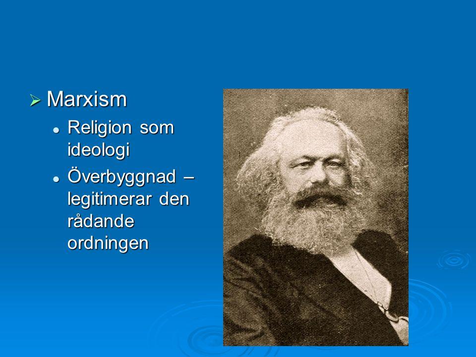  Marxism Religion som ideologi Religion som ideologi Överbyggnad – legitimerar den rådande ordningen Överbyggnad – legitimerar den rådande ordningen