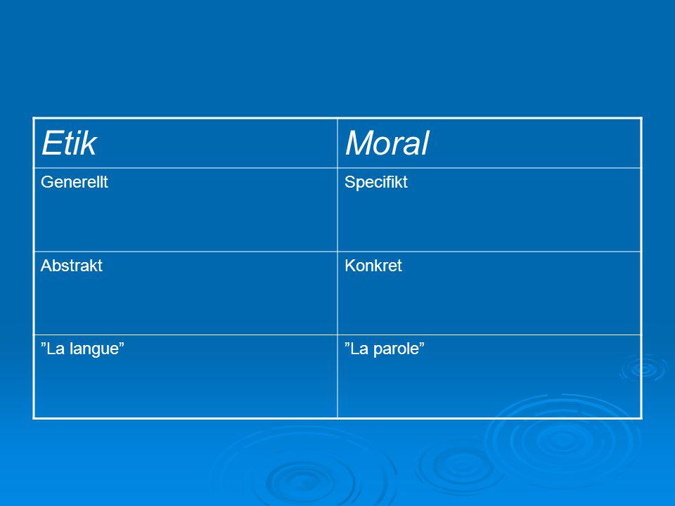 "EtikMoral GenerelltSpecifikt AbstraktKonkret ""La langue""""La parole"""