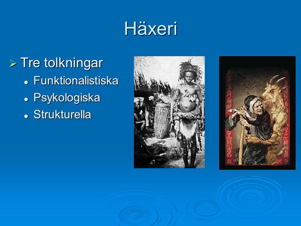 Häxeri  Tre tolkningar Funktionalistiska Funktionalistiska Psykologiska Psykologiska Strukturella Strukturella