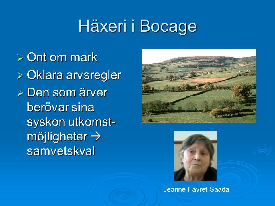 Häxeri i Bocage  Ont om mark  Oklara arvsregler  Den som ärver berövar sina syskon utkomst- möjligheter  samvetskval Jeanne Favret-Saada