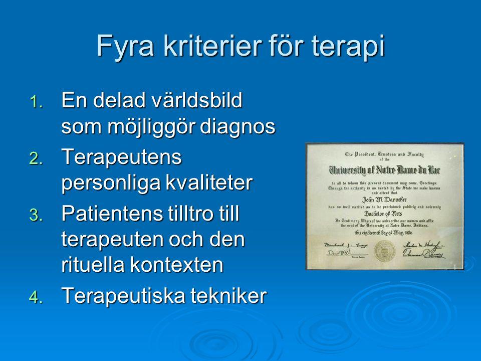 Fyra kriterier för terapi 1. En delad världsbild som möjliggör diagnos 2. Terapeutens personliga kvaliteter 3. Patientens tilltro till terapeuten och