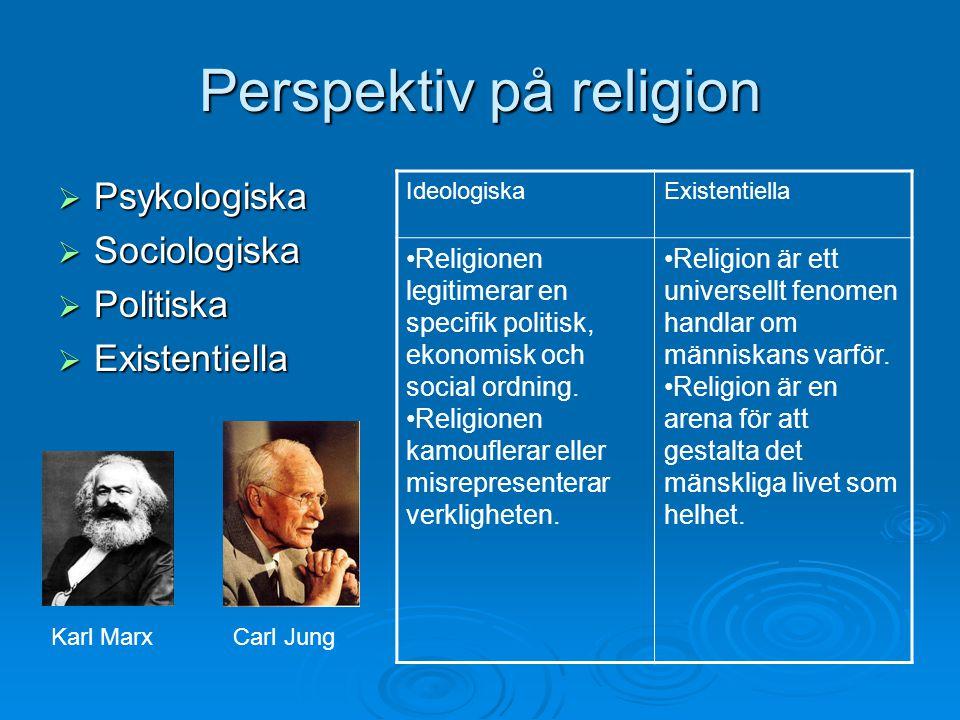 Perspektiv på religion  Psykologiska  Sociologiska  Politiska  Existentiella IdeologiskaExistentiella Religionen legitimerar en specifik politisk,