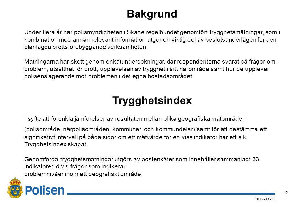 2 2012-11-22 Bakgrund Under flera år har polismyndigheten i Skåne regelbundet genomfört trygghetsmätningar, som i kombination med annan relevant information utgör en viktig del av beslutsunderlagen för den planlagda brottsförebyggande verksamheten.