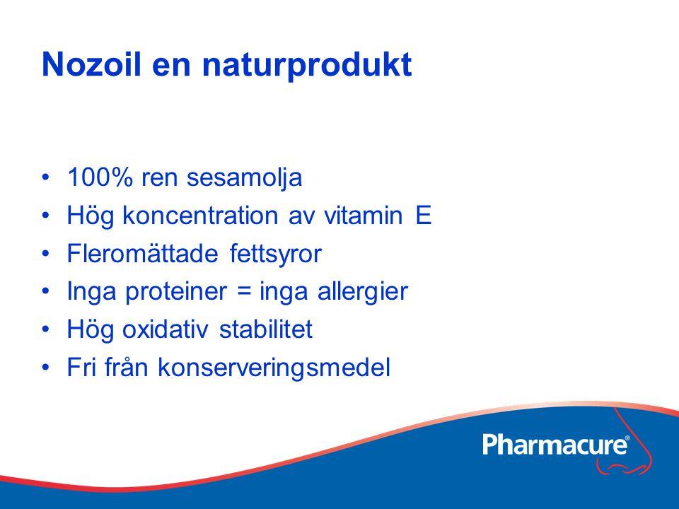 Nozoil en naturprodukt 100% ren sesamolja Hög koncentration av vitamin E Fleromättade fettsyror Inga proteiner = inga allergier Hög oxidativ stabilite