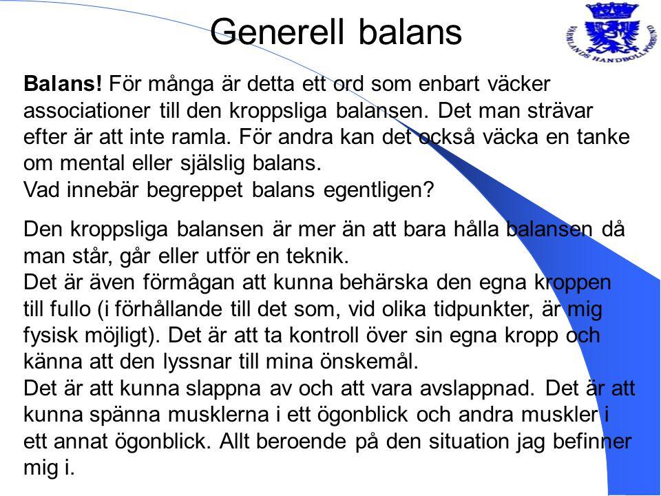 Generell balans Balans! För många är detta ett ord som enbart väcker associationer till den kroppsliga balansen. Det man strävar efter är att inte ram