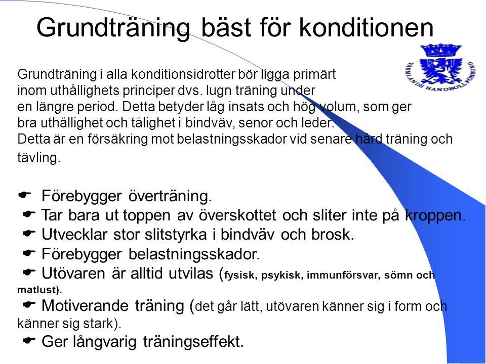 Grundträning bäst för konditionen Grundträning i alla konditionsidrotter bör ligga primärt inom uthållighets principer dvs. lugn träning under en läng