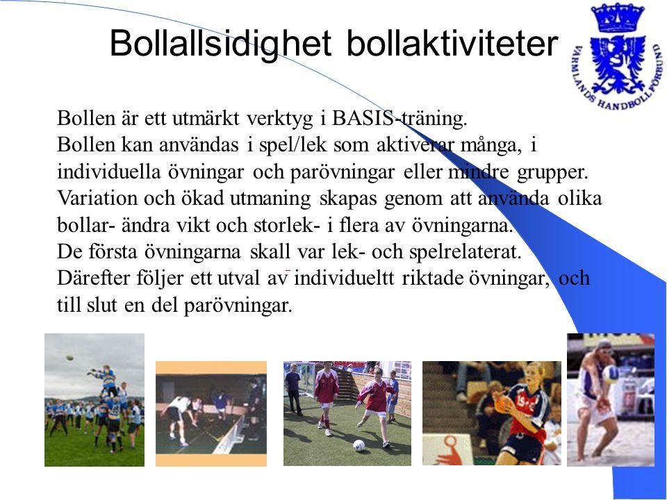 Bollallsidighet bollaktiviteter Bollen är ett utmärkt verktyg i BASIS-träning. Bollen kan användas i spel/lek som aktiverar många, i individuella övni