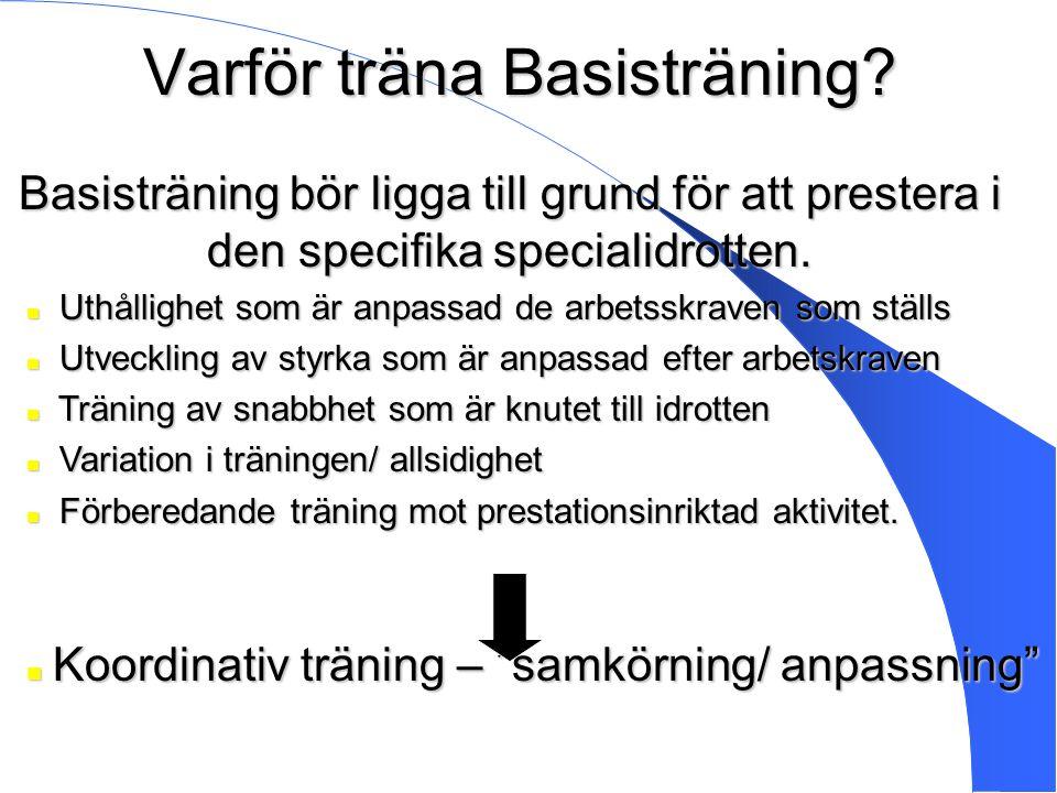 Varför träna Basisträning? Basisträning bör ligga till grund för att prestera i den specifika specialidrotten. Uthållighet som är anpassad de arbetssk