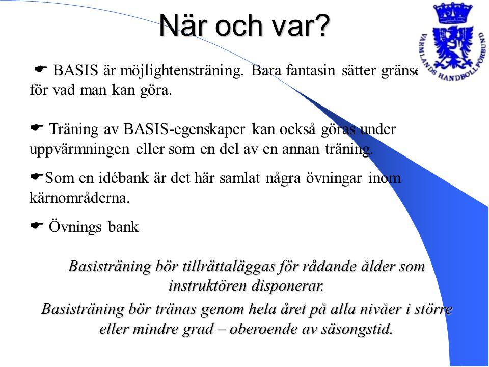 När och var?  BASIS är möjlightensträning. Bara fantasin sätter gränser för vad man kan göra.  Träning av BASIS-egenskaper kan också göras under upp