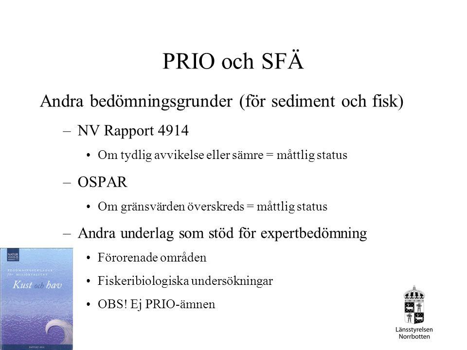 PRIO och SFÄ Andra bedömningsgrunder (för sediment och fisk) –NV Rapport 4914 Om tydlig avvikelse eller sämre = måttlig status –OSPAR Om gränsvärden ö