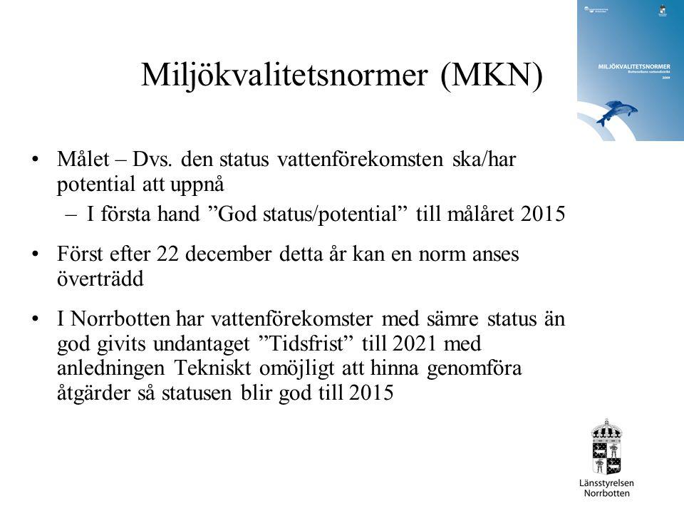 """Miljökvalitetsnormer (MKN) Målet – Dvs. den status vattenförekomsten ska/har potential att uppnå –I första hand """"God status/potential"""" till målåret 20"""