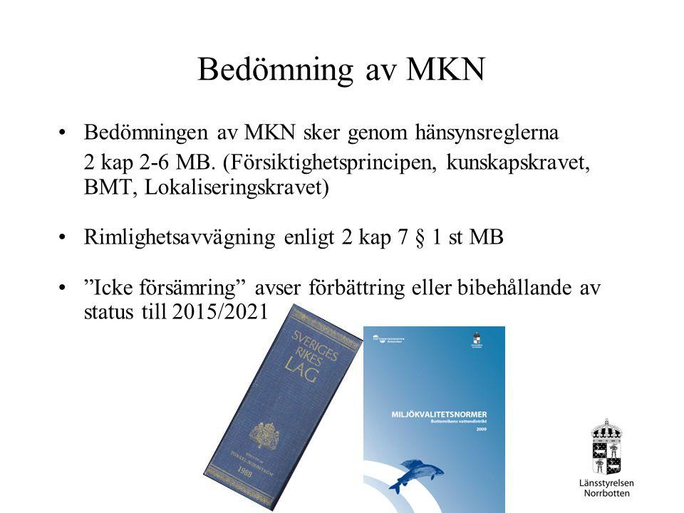 Bedömning av MKN Bedömningen av MKN sker genom hänsynsreglerna 2 kap 2-6 MB. (Försiktighetsprincipen, kunskapskravet, BMT, Lokaliseringskravet) Rimlig