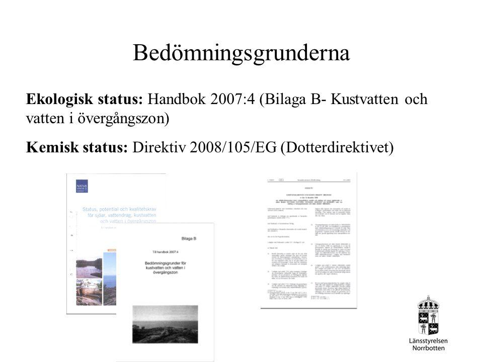 Bedömningsgrunderna Ekologisk status: Handbok 2007:4 (Bilaga B- Kustvatten och vatten i övergångszon) Kemisk status: Direktiv 2008/105/EG (Dotterdirek