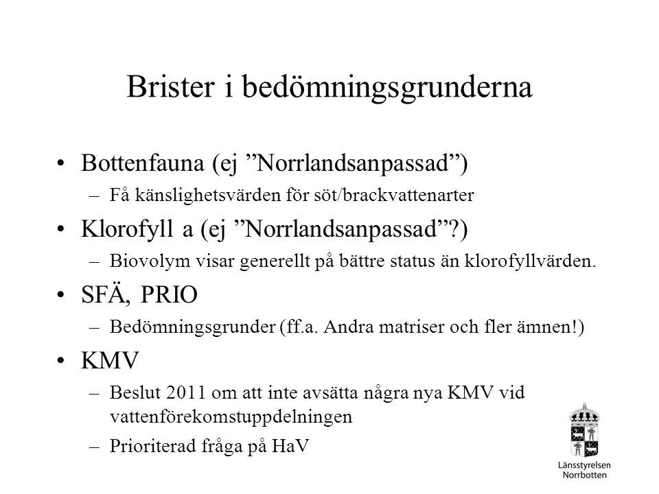 """Brister i bedömningsgrunderna Bottenfauna (ej """"Norrlandsanpassad"""") –Få känslighetsvärden för söt/brackvattenarter Klorofyll a (ej """"Norrlandsanpassad""""?"""