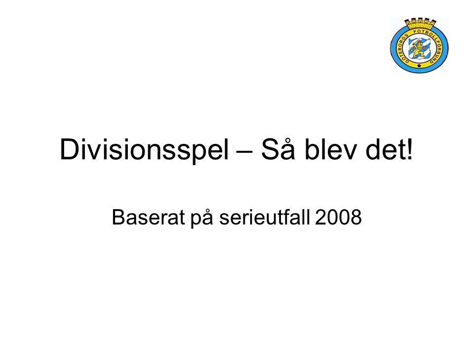 Divisionsspel – Så blev det! Baserat på serieutfall 2008
