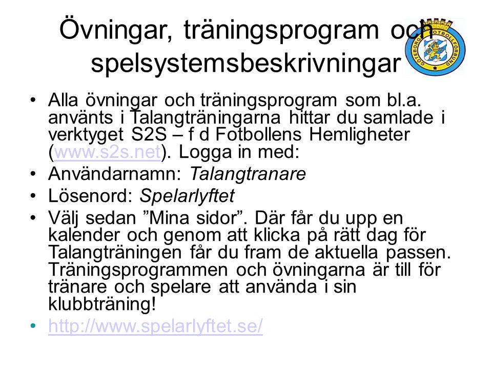 Övningar, träningsprogram och spelsystemsbeskrivningar Alla övningar och träningsprogram som bl.a. använts i Talangträningarna hittar du samlade i ver