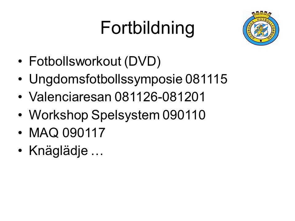 Fortbildning Fotbollsworkout (DVD) Ungdomsfotbollssymposie 081115 Valenciaresan 081126-081201 Workshop Spelsystem 090110 MAQ 090117 Knäglädje …