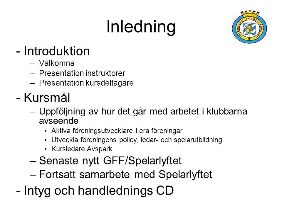 Inledning - Introduktion –Välkomna –Presentation instruktörer –Presentation kursdeltagare - Kursmål –Uppföljning av hur det går med arbetet i klubbarn