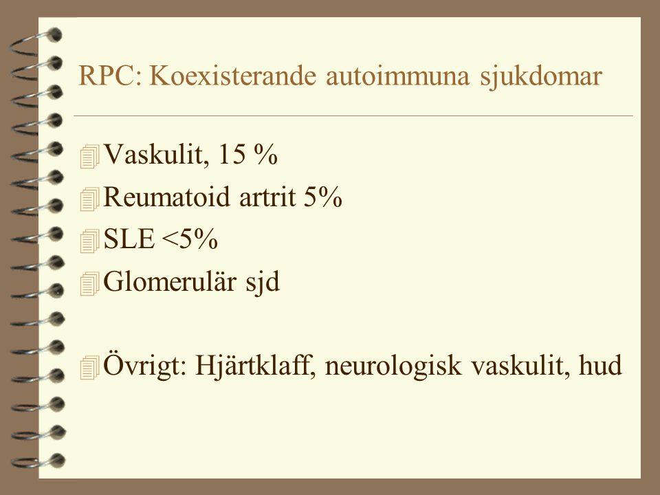 RPC: Koexisterande autoimmuna sjukdomar 4 Vaskulit, 15 % 4 Reumatoid artrit 5% 4 SLE <5% 4 Glomerulär sjd 4 Övrigt: Hjärtklaff, neurologisk vaskulit, hud