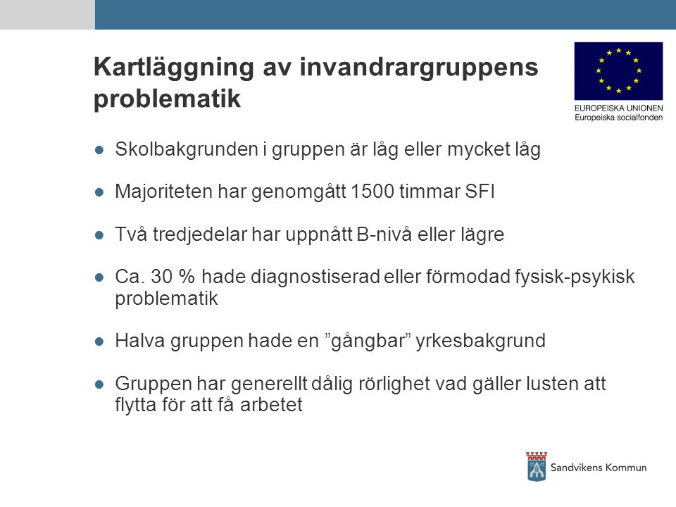 Kartläggning av invandrargruppens problematik Skolbakgrunden i gruppen är låg eller mycket låg Majoriteten har genomgått 1500 timmar SFI Två tredjedelar har uppnått B-nivå eller lägre Ca.