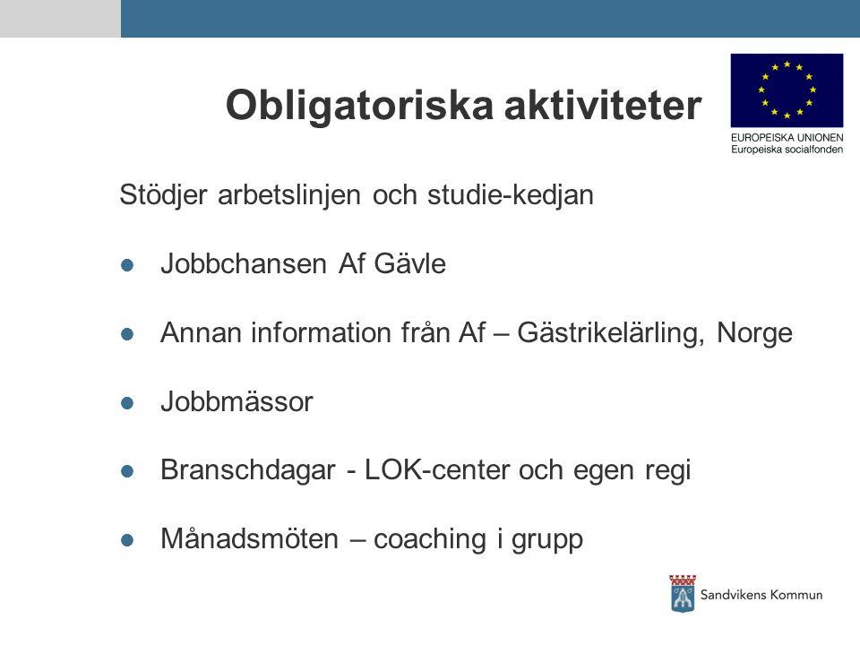 Obligatoriska aktiviteter Stödjer arbetslinjen och studie-kedjan Jobbchansen Af Gävle Annan information från Af – Gästrikelärling, Norge Jobbmässor Br