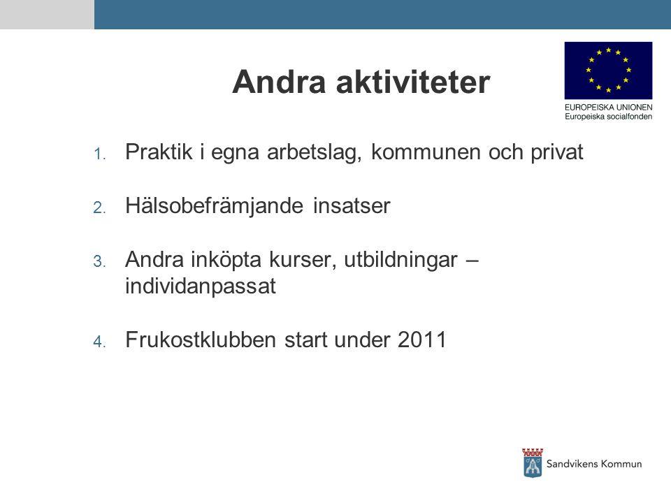 Andra aktiviteter 1. Praktik i egna arbetslag, kommunen och privat 2.