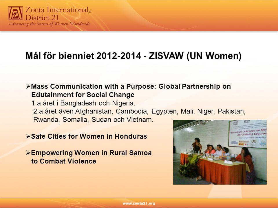 Mål för bienniet 2012-2014 - ZISVAW (UN Women)  Mass Communication with a Purpose: Global Partnership on Edutainment for Social Change 1:a året i Bangladesh och Nigeria.