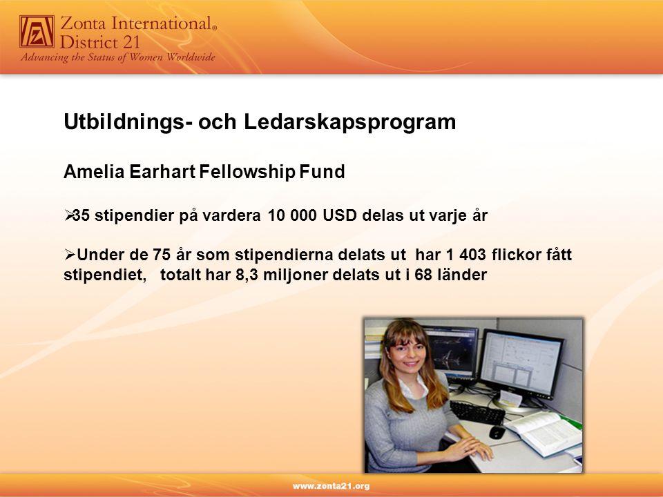 Utbildnings- och Ledarskapsprogram Amelia Earhart Fellowship Fund  35 stipendier på vardera 10 000 USD delas ut varje år  Under de 75 år som stipendierna delats ut har 1 403 flickor fått stipendiet, totalt har 8,3 miljoner delats ut i 68 länder