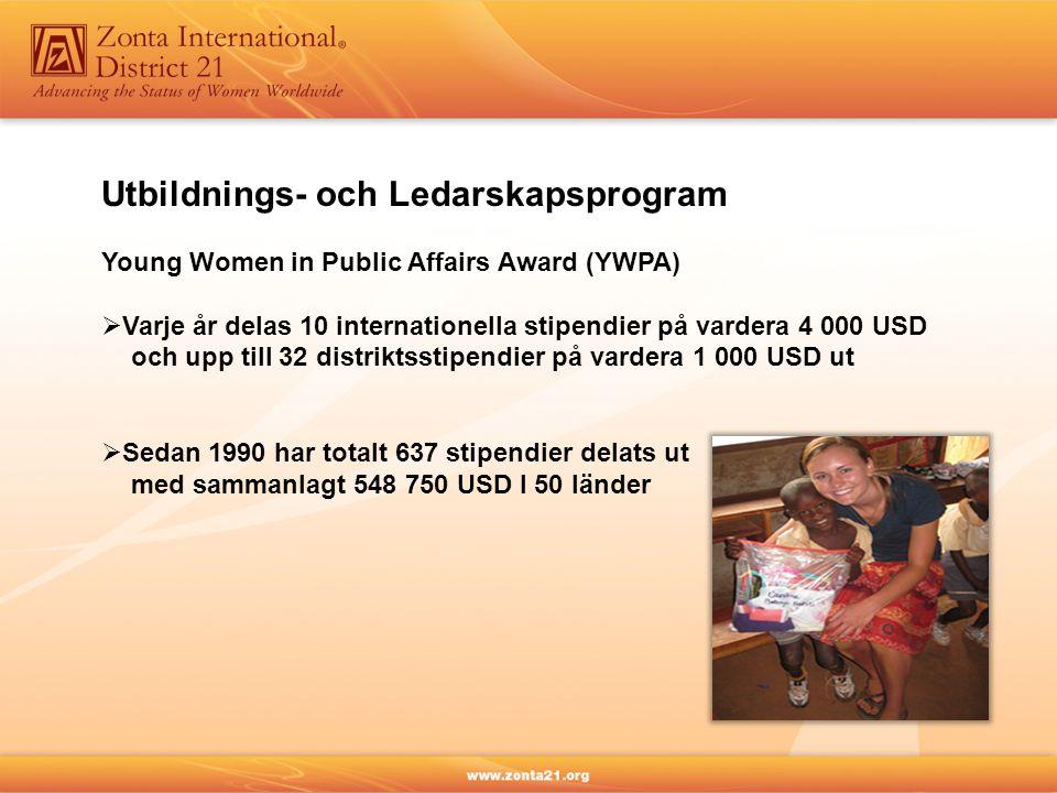 Utbildnings- och Ledarskapsprogram Young Women in Public Affairs Award (YWPA)  Varje år delas 10 internationella stipendier på vardera 4 000 USD och upp till 32 distriktsstipendier på vardera 1 000 USD ut  Sedan 1990 har totalt 637 stipendier delats ut med sammanlagt 548 750 USD I 50 länder
