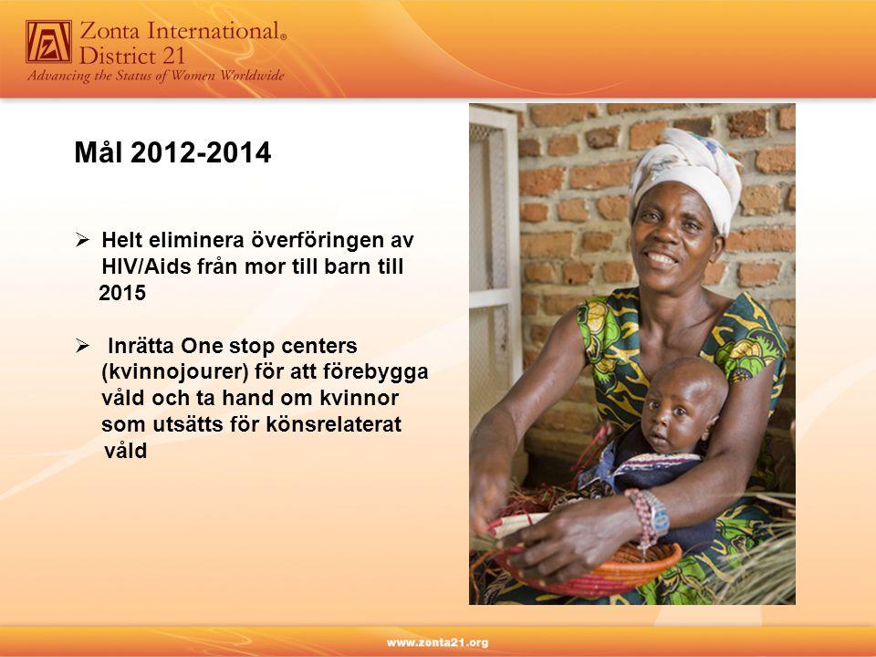 Mål 2012-2014  Helt eliminera överföringen av HIV/Aids från mor till barn till 2015  Inrätta One stop centers (kvinnojourer) för att förebygga våld och ta hand om kvinnor som utsätts för könsrelaterat våld