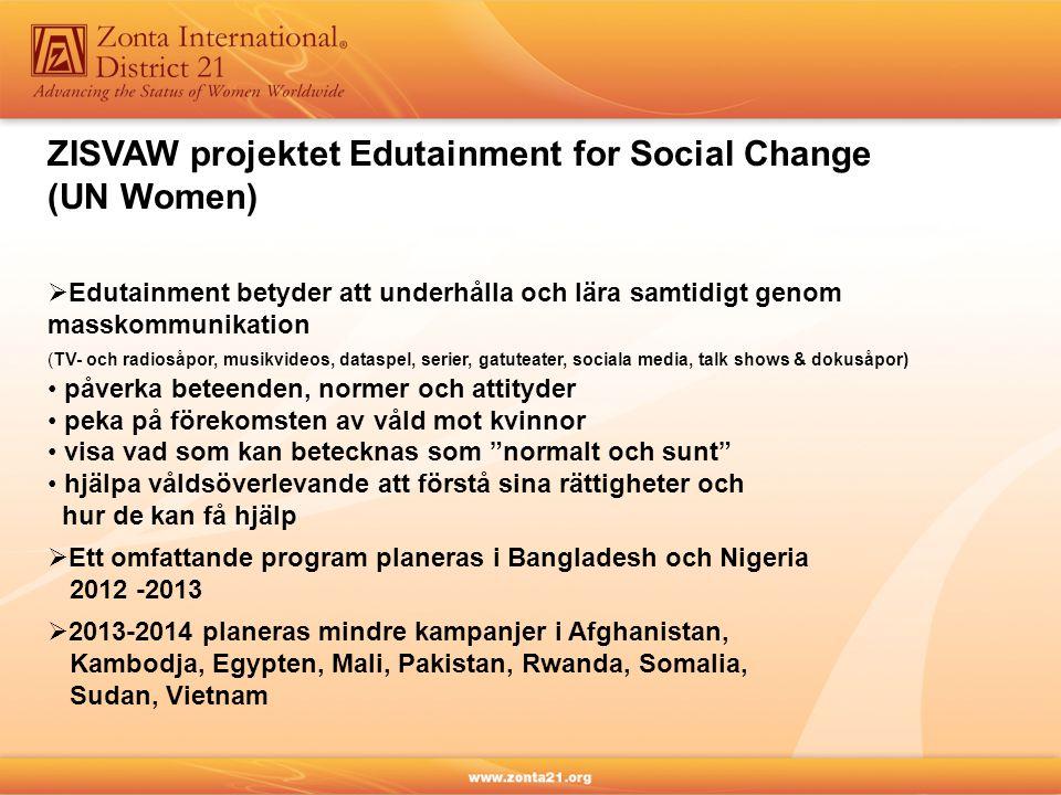  Edutainment betyder att underhålla och lära samtidigt genom masskommunikation (TV- och radiosåpor, musikvideos, dataspel, serier, gatuteater, sociala media, talk shows & dokusåpor) påverka beteenden, normer och attityder peka på förekomsten av våld mot kvinnor visa vad som kan betecknas som normalt och sunt hjälpa våldsöverlevande att förstå sina rättigheter och hur de kan få hjälp ZISVAW projektet Edutainment for Social Change (UN Women)  Ett omfattande program planeras i Bangladesh och Nigeria 2012 -2013  2013-2014 planeras mindre kampanjer i Afghanistan, Kambodja, Egypten, Mali, Pakistan, Rwanda, Somalia, Sudan, Vietnam