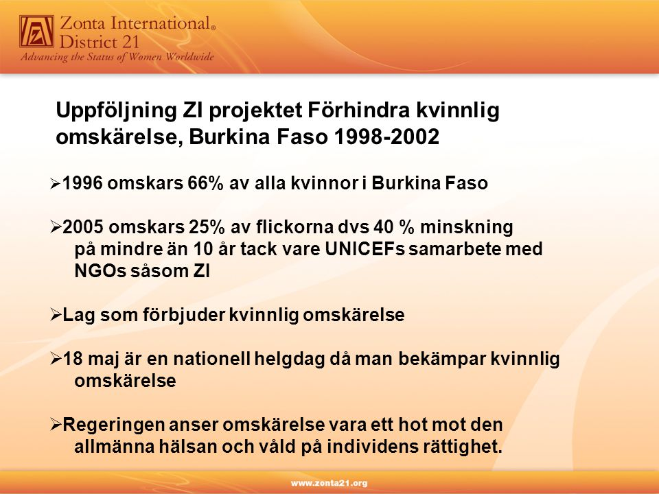  1996 omskars 66% av alla kvinnor i Burkina Faso  2005 omskars 25% av flickorna dvs 40 % minskning på mindre än 10 år tack vare UNICEFs samarbete med NGOs såsom ZI  Lag som förbjuder kvinnlig omskärelse  18 maj är en nationell helgdag då man bekämpar kvinnlig omskärelse  Regeringen anser omskärelse vara ett hot mot den allmänna hälsan och våld på individens rättighet.