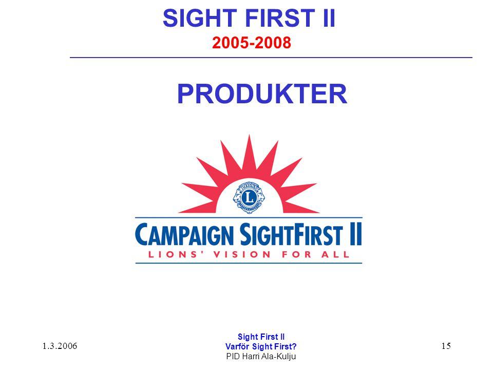 1.3.2006 Sight First II Varför Sight First? PID Harri Ala-Kulju 15 SIGHT FIRST II 2005-2008 PRODUKTER