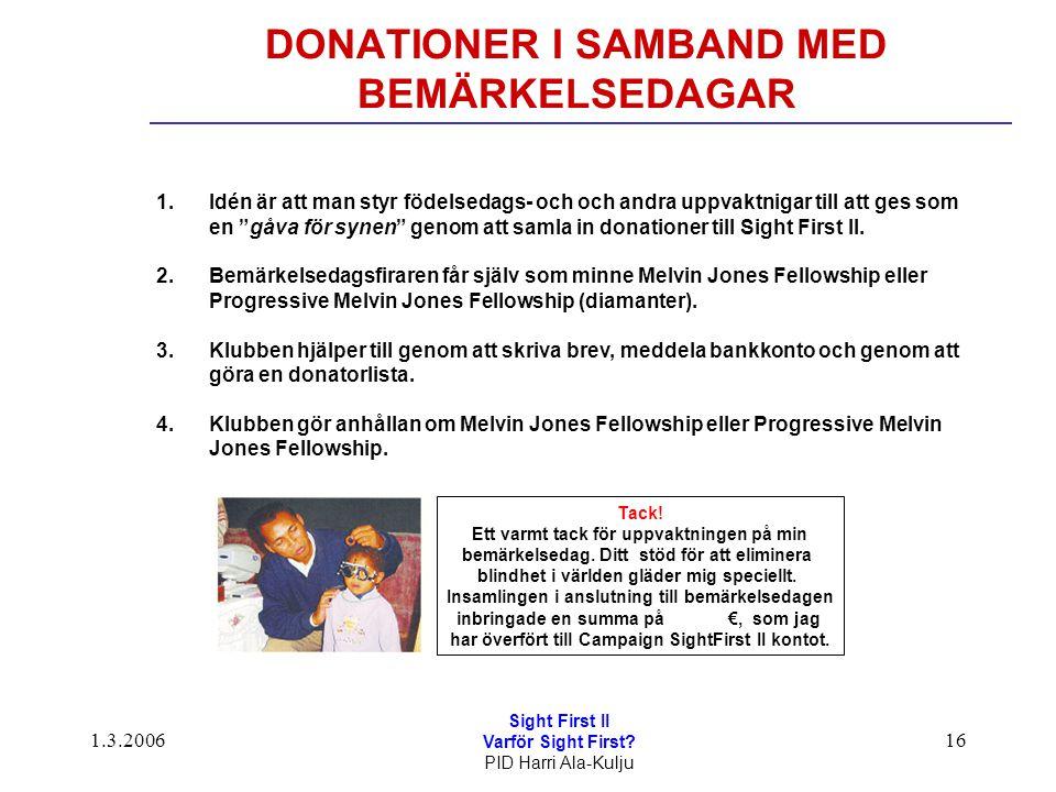1.3.2006 Sight First II Varför Sight First? PID Harri Ala-Kulju 16 DONATIONER I SAMBAND MED BEMÄRKELSEDAGAR 1.Idén är att man styr födelsedags- och oc