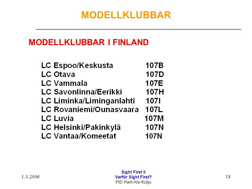 1.3.2006 Sight First II Varför Sight First? PID Harri Ala-Kulju 18 MODELLKLUBBAR MODELLKLUBBAR I FINLAND