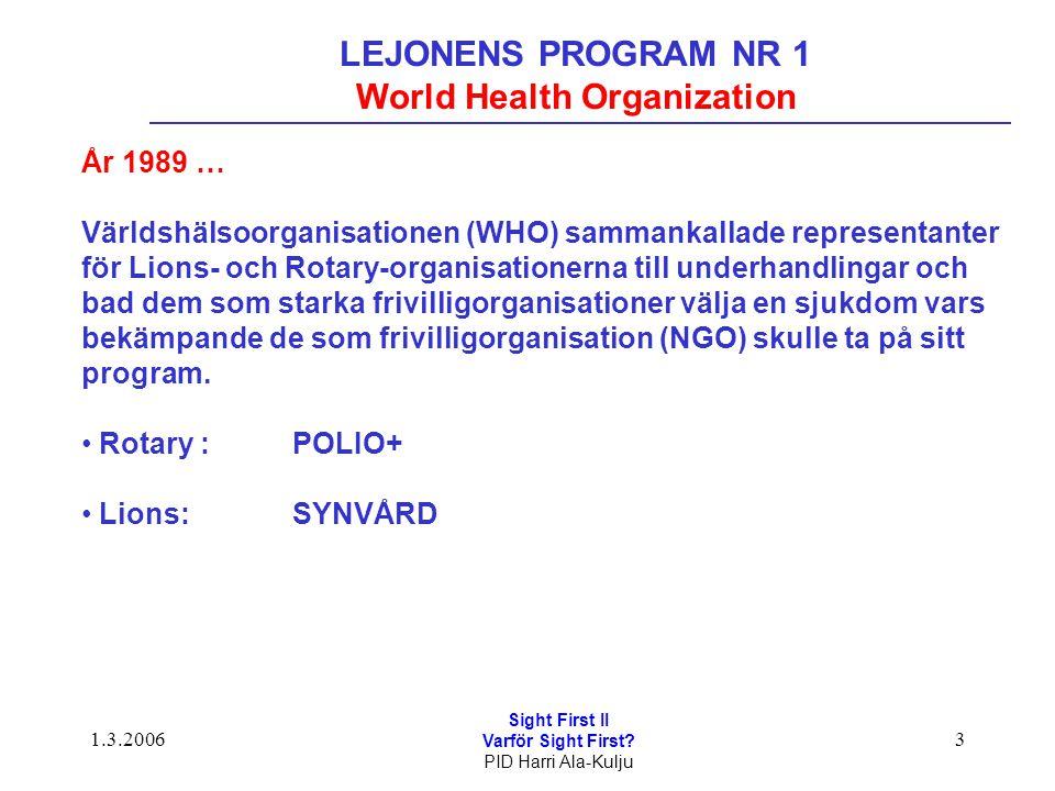 1.3.2006 Sight First II Varför Sight First? PID Harri Ala-Kulju 3 LEJONENS PROGRAM NR 1 World Health Organization År 1989 … Världshälsoorganisationen