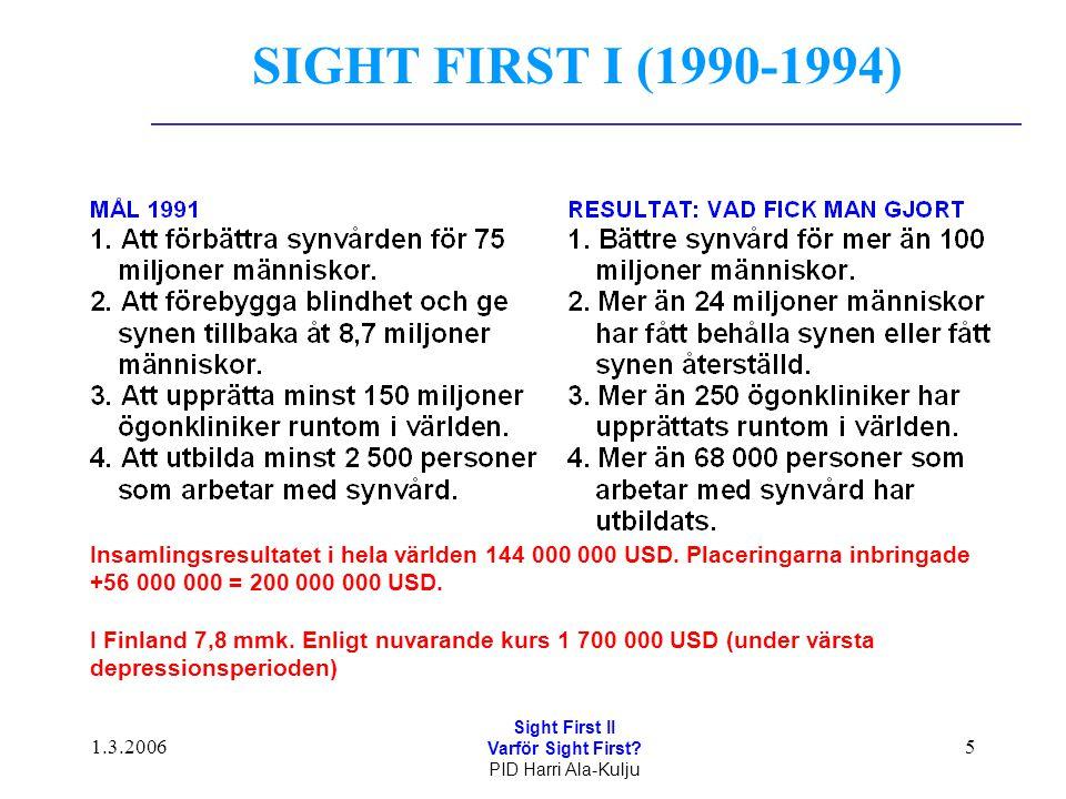 1.3.2006 Sight First II Varför Sight First? PID Harri Ala-Kulju 5 SIGHT FIRST I (1990-1994) Insamlingsresultatet i hela världen 144 000 000 USD. Place