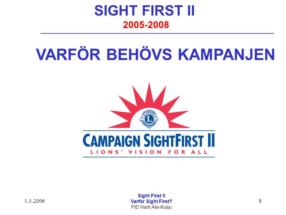 1.3.2006 Sight First II Varför Sight First? PID Harri Ala-Kulju 8 SIGHT FIRST II 2005-2008 VARFÖR BEHÖVS KAMPANJEN