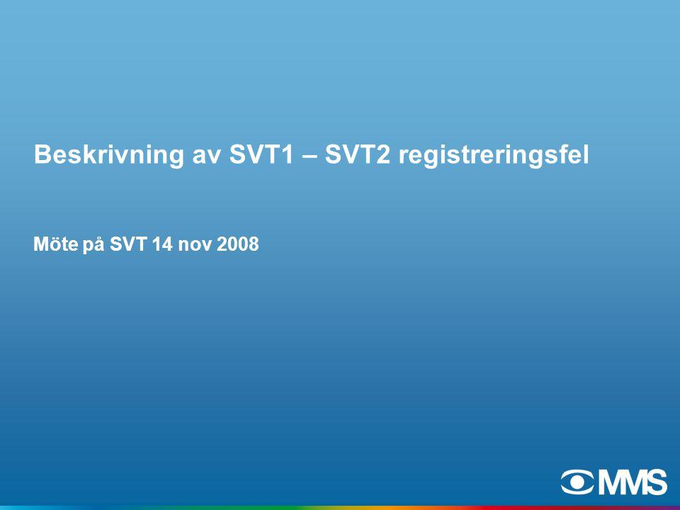 Beskrivning av SVT1 – SVT2 registreringsfel Möte på SVT 14 nov 2008