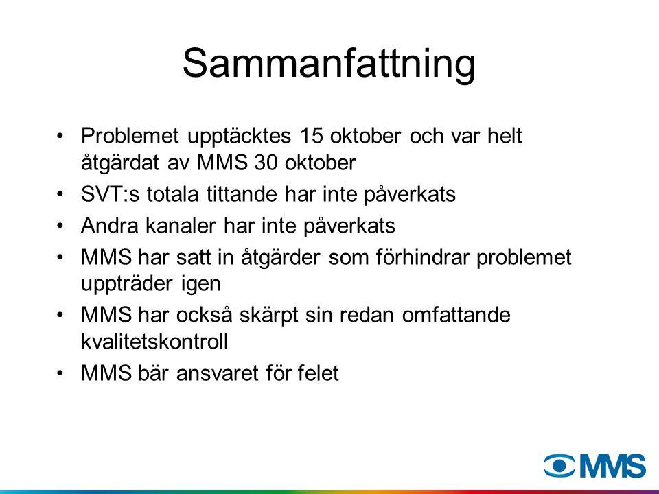 Sammanfattning Problemet upptäcktes 15 oktober och var helt åtgärdat av MMS 30 oktober SVT:s totala tittande har inte påverkats Andra kanaler har inte påverkats MMS har satt in åtgärder som förhindrar problemet uppträder igen MMS har också skärpt sin redan omfattande kvalitetskontroll MMS bär ansvaret för felet