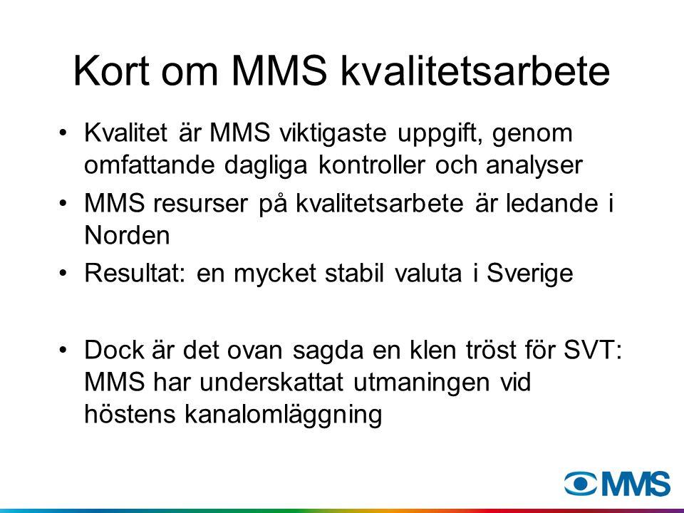 Kort om MMS kvalitetsarbete Kvalitet är MMS viktigaste uppgift, genom omfattande dagliga kontroller och analyser MMS resurser på kvalitetsarbete är le